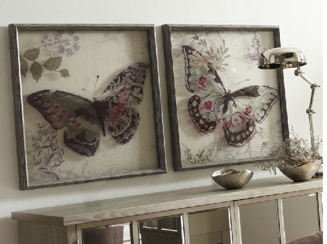 Set cuadros mariposas cristal