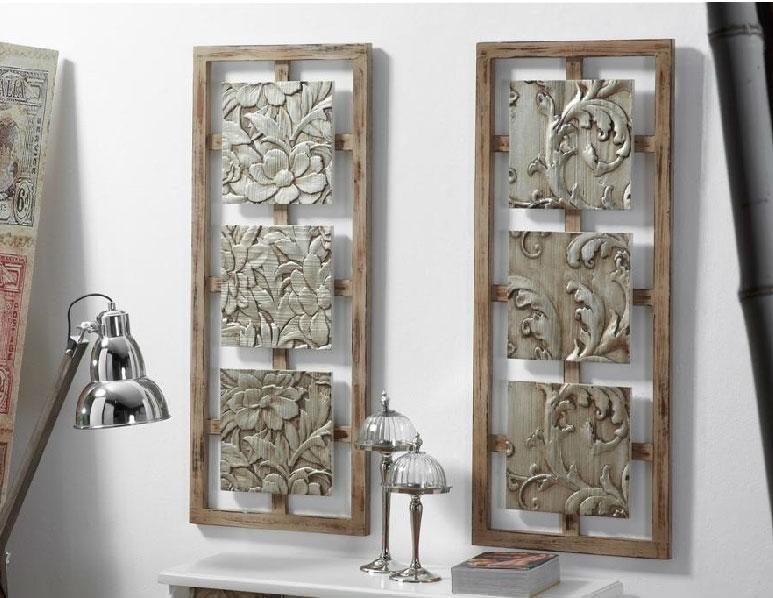 Cuadro de madera color plata envejecida
